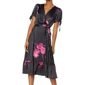 Betsey Johnson floral print faux wrap dress